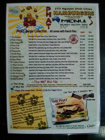 Phat Hamburgers: Menu Front Page