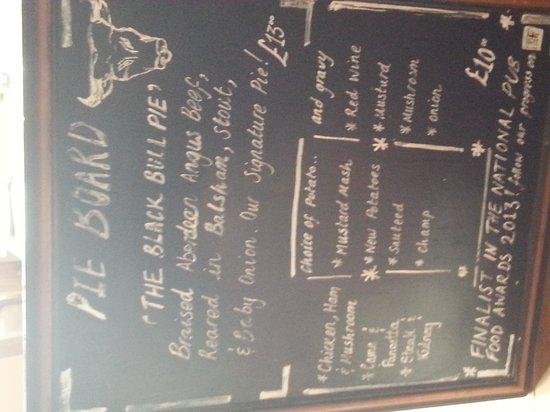 The Black Bull Inn Balsham: Pie Board