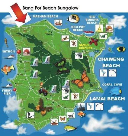 Koh Samui Map koh samui map   Picture of King Busch Reggae Beach, Mae Nam  Koh Samui Map