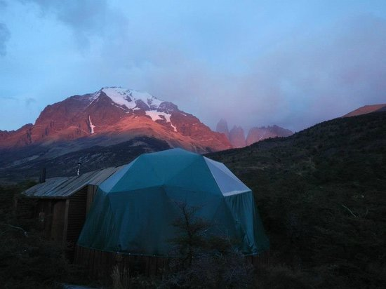 Ecocamp Patagonia: Sunset at our dome