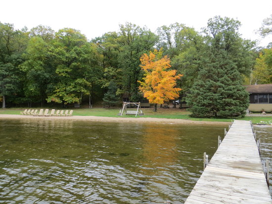 Samara Point Resort on Gull Lake: View of the resort from the end of the dock
