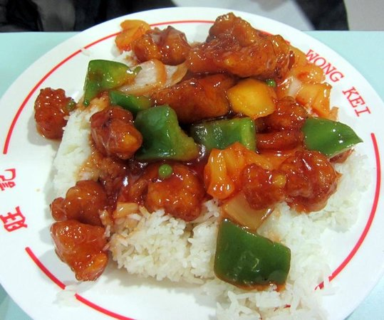 Wong Kei: Sweet & Sour Chicken on Rice