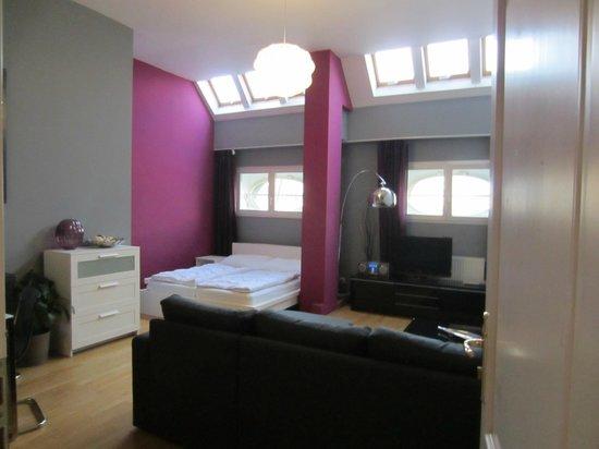 Hotel Apartments Wenceslas Square: Le séjour-salle à manger avec double lit et canapé-lit + kitchenette.