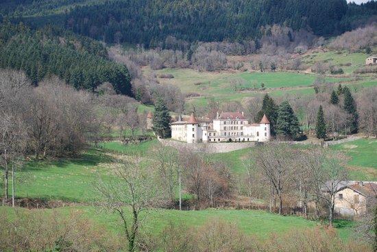 Chateau de Pramenoux : vue d'une colline proche