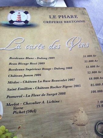 Creperie le phare : carte des vins