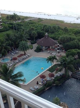 The Charter Club of Marco Beach: pool & beach from our balcony.