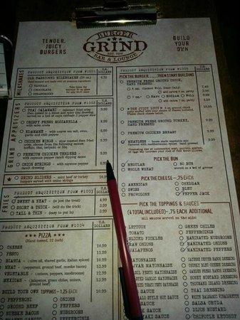 Grind Burger Bar & Lounge: Grind Menu