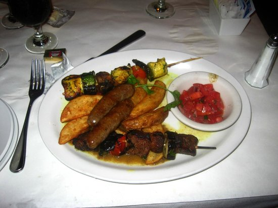 ... : Chicken and Beef Shish Kebobs, Lamb Sausage, and roast potatoes