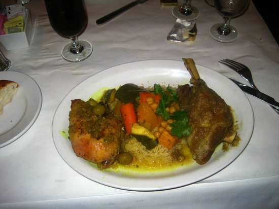 Lamb Shank, Lemon Chicken, Mixed Veggies, and Couscous. - Picture of ...