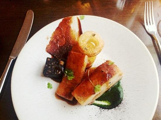 The Pig's Ear: The pork belly main course is absolutely divine. Moist, tender and packed full of perfectly bala