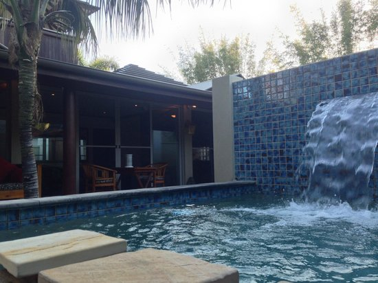 The Villas of Byron : looking back at the villa from the pool/spa