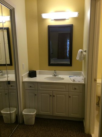 HYATT house Boston/Waltham : Sink area (mirror on left is closet) of Bathroom/Bedroom 2