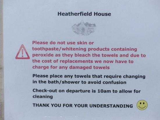 Heatherfield House: Watch those towels!