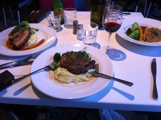 Umu: Honey mustard Pork, Steak with mushroom sauce & Polenta & Chickpeas - Sensational !