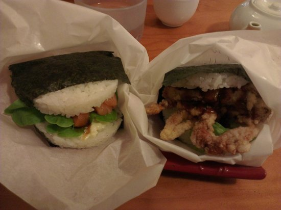Sushi Burger: Left: Spicy Raw Salmon, Right: Soft Shell Crab