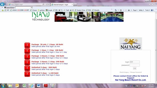 Nai Yang Beach Resort and Spa : Internet rates for use of internet in room