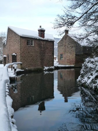 Cromford Canal: Old canal warehouses at Cromford Wharf