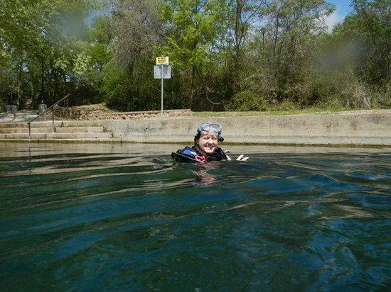 Comal River: My beautiful wife and dive buddy!.