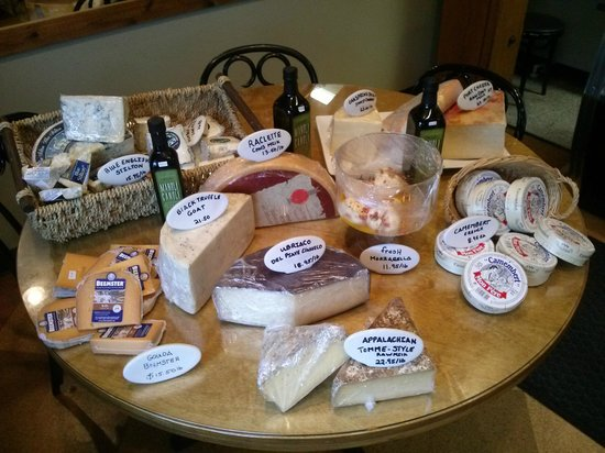 Old Mill Market & Cafe : a sampling of cheeses sold