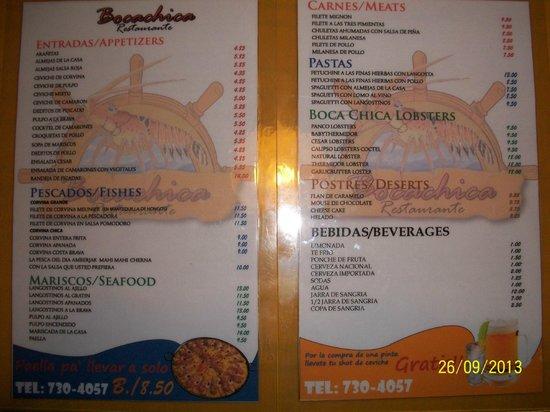 restaurante Boca chica: restaurant menu