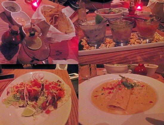 Lolita Cocina & Tequila Bar: salsa, fish trio, chicken tacos and lobster enchilada!