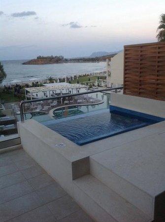 SENSIMAR KALLISTON Resort & Spa by ATLANTICA: jacuzzi room looking out to sea.