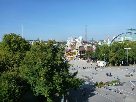Pension Westfalia: The view of OKTOBERFEST from our window!!
