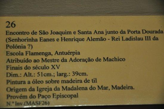 Musée d'Art Sacré (Museu de Arte Sacra) : Podpis pod obrazem Św.Joachim i Św.Anna
