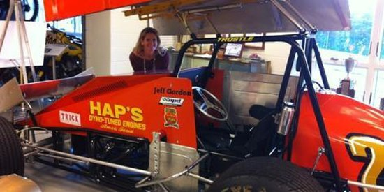 Eastern Museum of Motor Racing: me with a car driven by Jeff Gordon