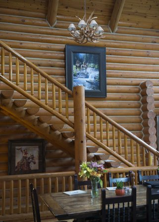 The Hideout Lodge & Guest Ranch: Interior of Lodge Showing Stairs to Loft Lounge
