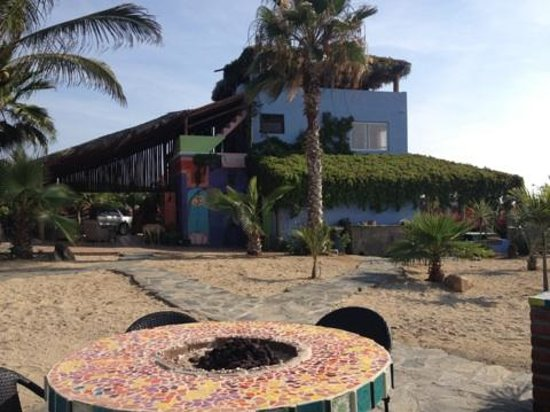 Baja Beach Oasis: fire pit next to bbq with seating and view of the main house