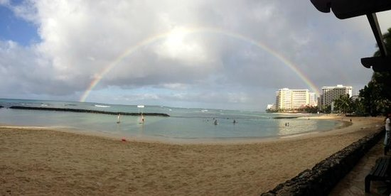 Waikiki Banyan: Rainbow over Waikiki Beach