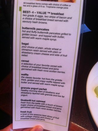 Holiday Inn Halifax Harbourview: Breakfast Menu