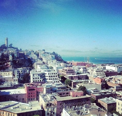 Hilton San Francisco Financial District : 17th floor looking out at Telegraph Hill/the bay. Not a dirty window! Just an Instagram filter.