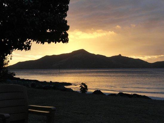 Turtle Island Resort: Sunset from the Turtle Island.  Bula!