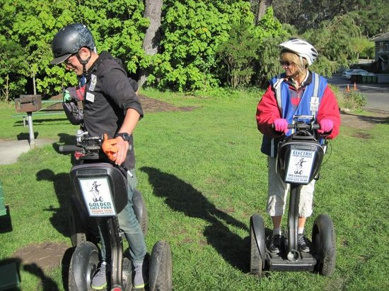 Electric Tour Company Segway Tours: Devin (guide) and Shirley during a brief stop