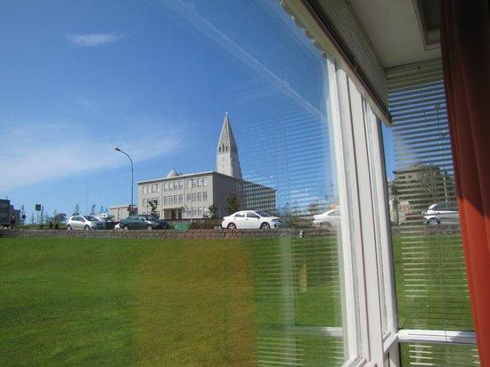 Hostel B47 : corner window view of church