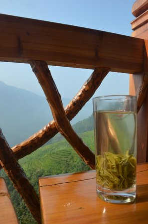 Baike Hotel : view from deck overlooking terraces