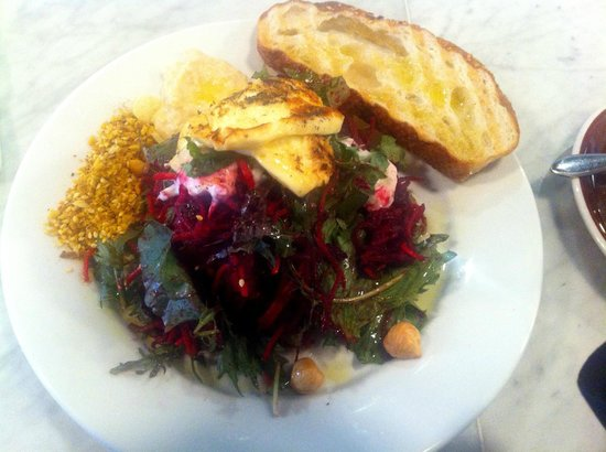 Kiki Beware: Beetroot salad, halloumi, dukka, hazelnuts. Amazing.