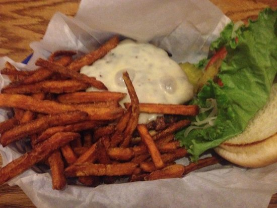 Iron Door Saloon and Grill : My buffalo burger with sweet potato fries