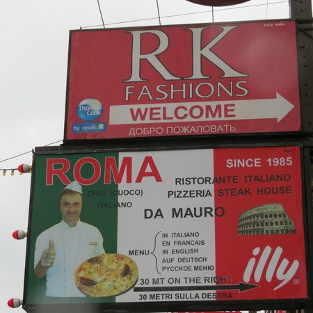 RK Fashions and Tailors: Beach Rd has signs to RK Fashions, Patong, Thailand