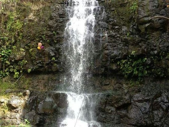 Island Adventures : Rappelling Beautiful Papakole'a Falls