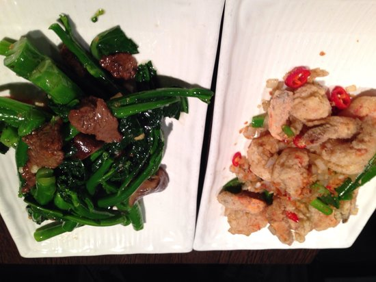 New King : Salt n pepper prawns plus beef and Chinese broccoli