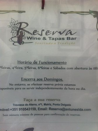 Reserva Bar: seems reservations are a must. also no posted hours of service