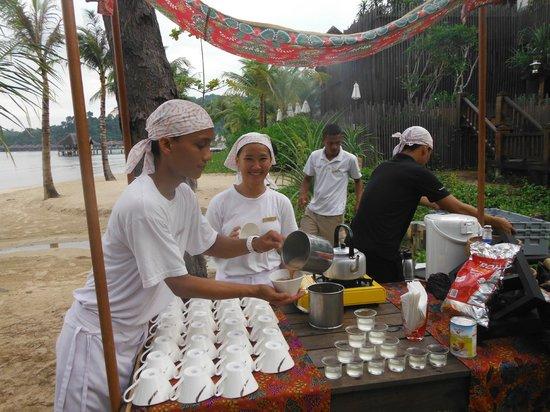 "Gaya Island Resort: The staff at the ""party"""