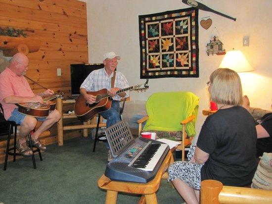Breezy Point Resort: Family jam session in cabin #8.