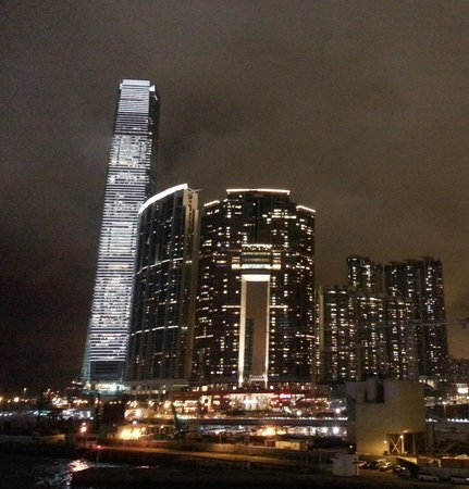 The Royal Pacific Hotel & Towers: the ICC in Kowloon from the promenade