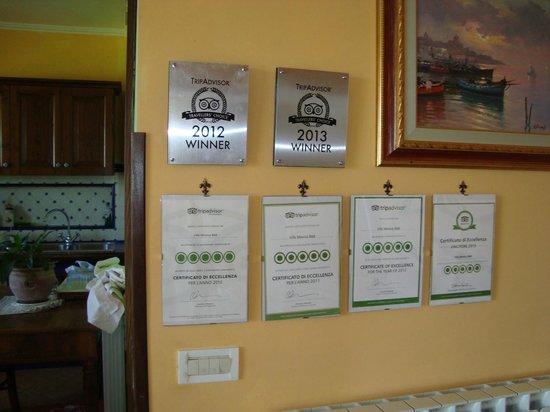 Villa Monica B&B: Many awards