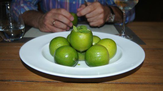 FREU Restaurant: lime sorbet