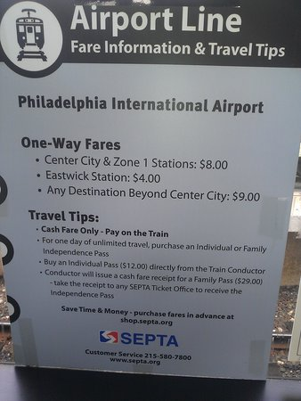 Philadelphia Airport Marriott: Septa train info from the airport